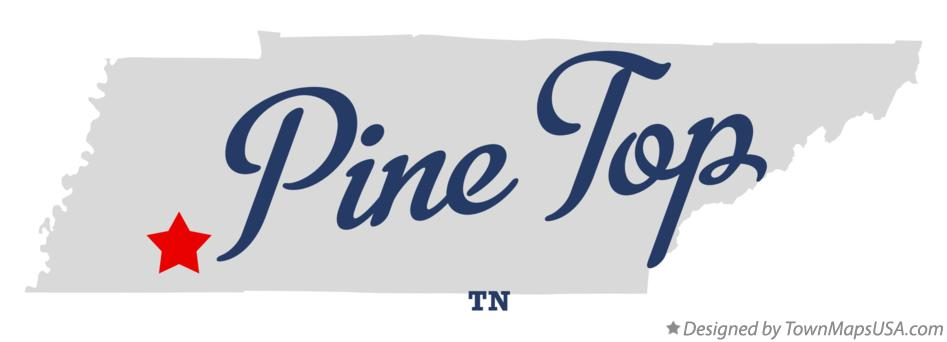 Map of Pine Top Tennessee TN