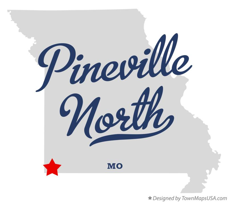 Map of Pineville North Missouri MO
