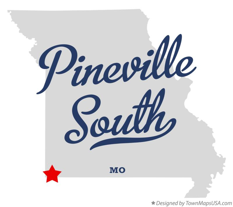 Map of Pineville South Missouri MO