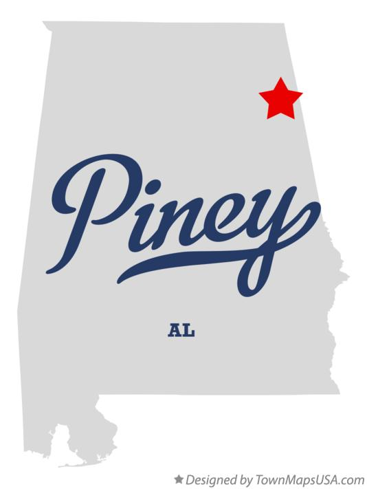 Map of Piney Alabama AL