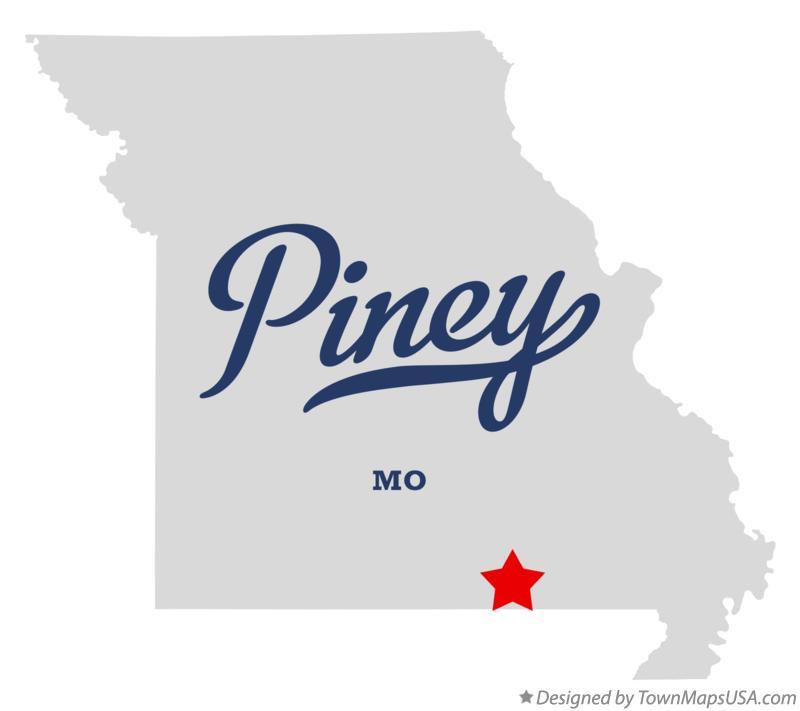 Map of Piney Oregon County MO Missouri