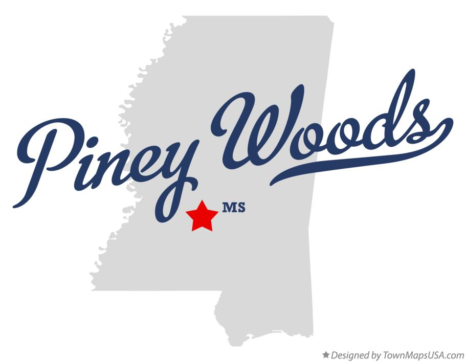 Map of Piney Woods Mississippi MS