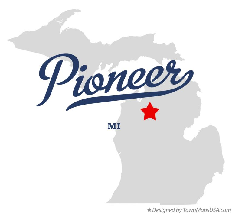Map of Pioneer Michigan MI