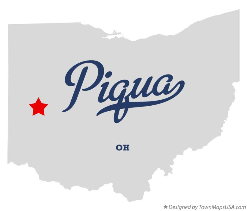 Map of Piqua Ohio OH