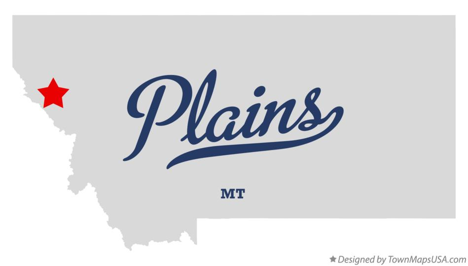 Map of Plains Montana MT