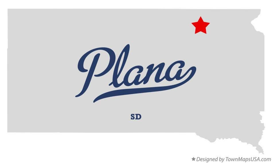 Map of Plana South Dakota SD