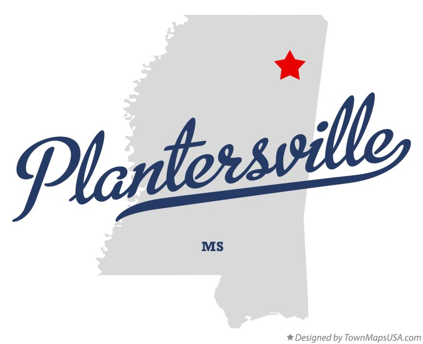 Map of Plantersville Mississippi MS