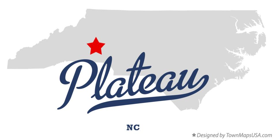 Map of Plateau North Carolina NC