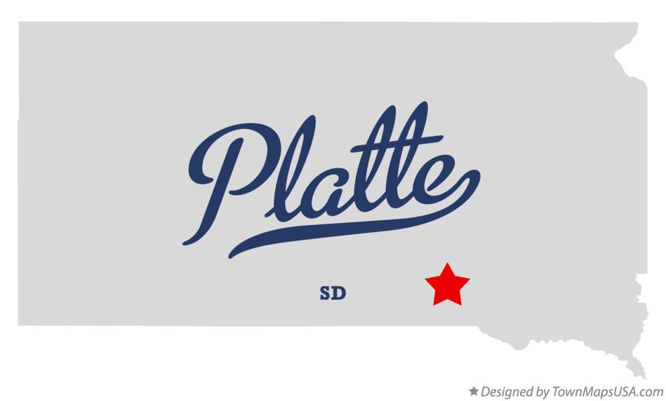 Map of Platte South Dakota SD