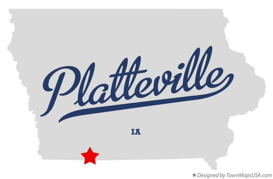 Map of Platteville Iowa IA