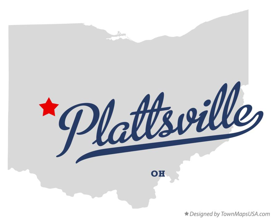 Map of Plattsville Ohio OH