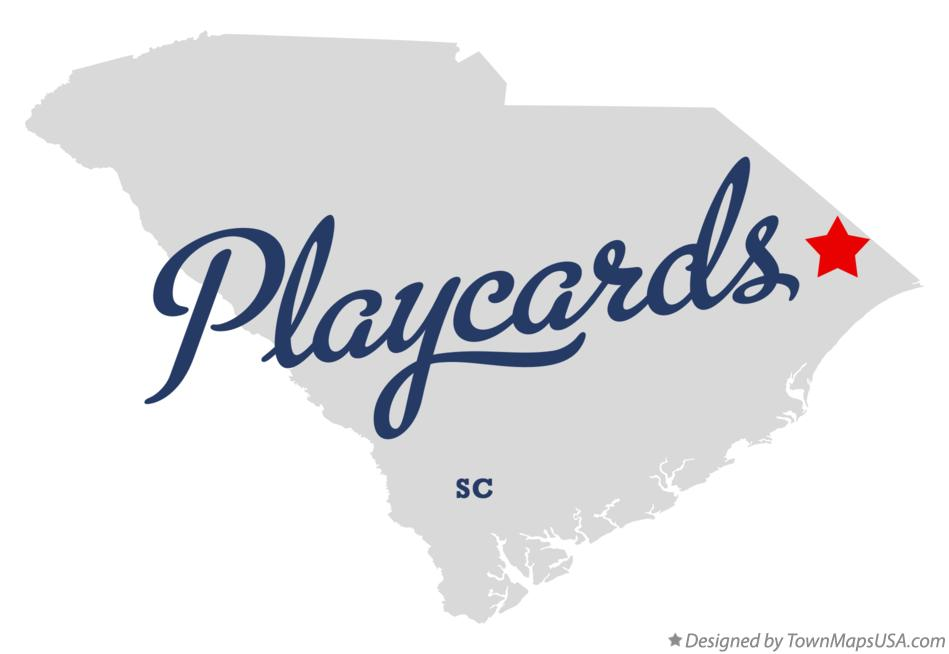 Map of Playcards South Carolina SC