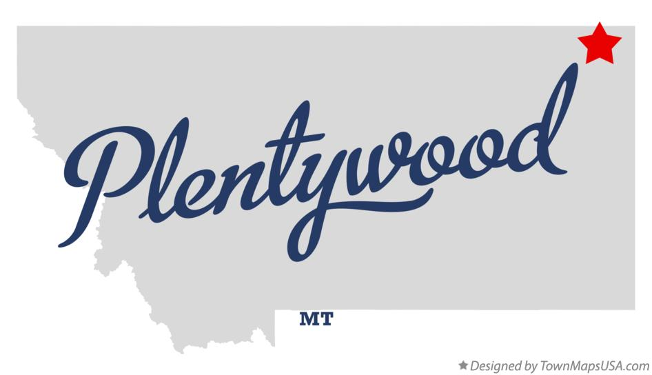 Map of Plentywood Montana MT