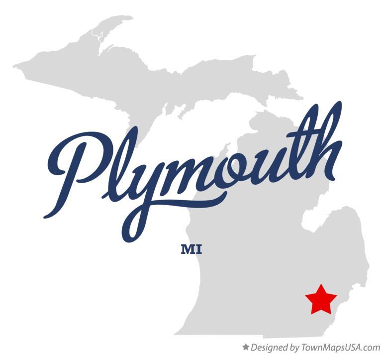 Map of Plymouth, Wayne County, MI, Michigan