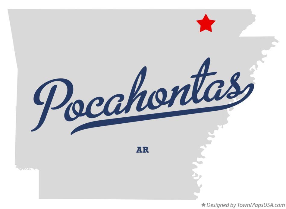 Map of Pocahontas, AR, Arkansas