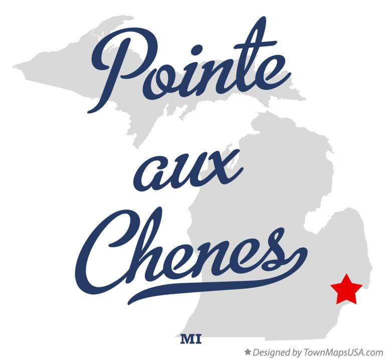 Map of Pointe aux Chenes Michigan MI