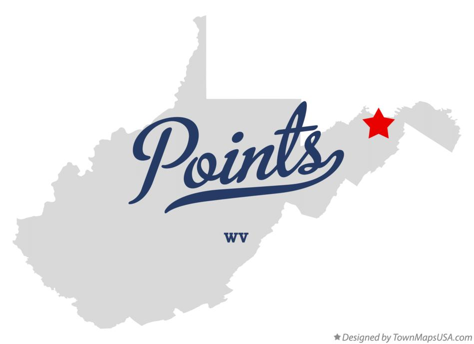 Map of Points West Virginia WV