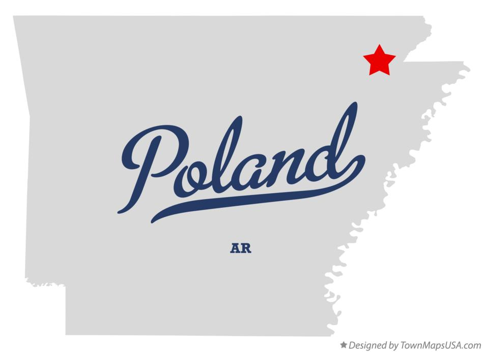Map of Poland Arkansas AR
