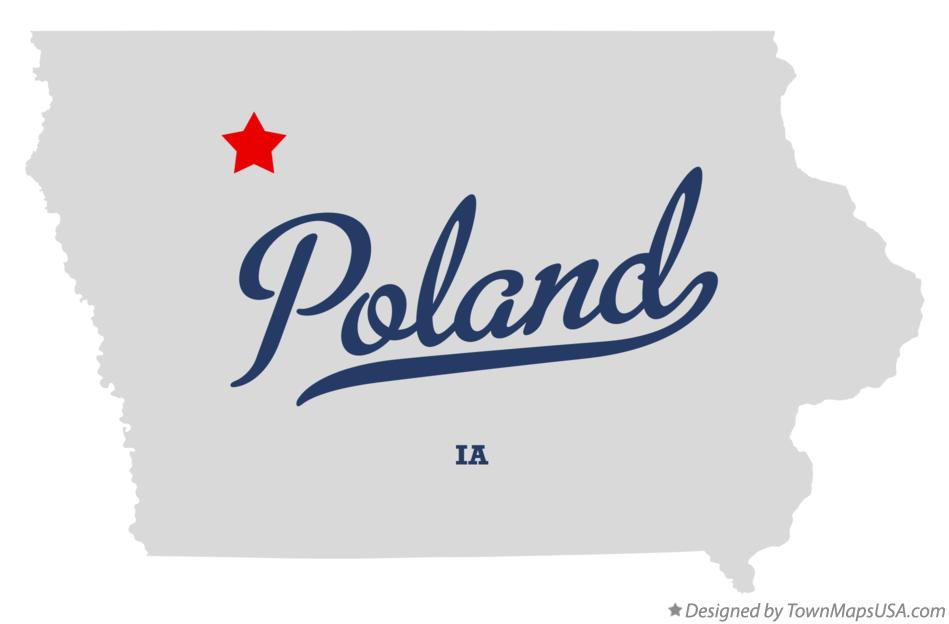 Map of Poland Iowa IA