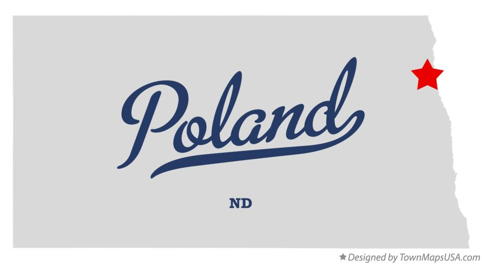 Map of Poland North Dakota ND