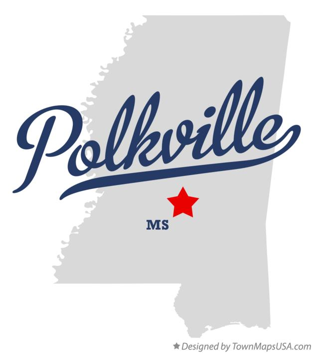 Map of Polkville Mississippi MS