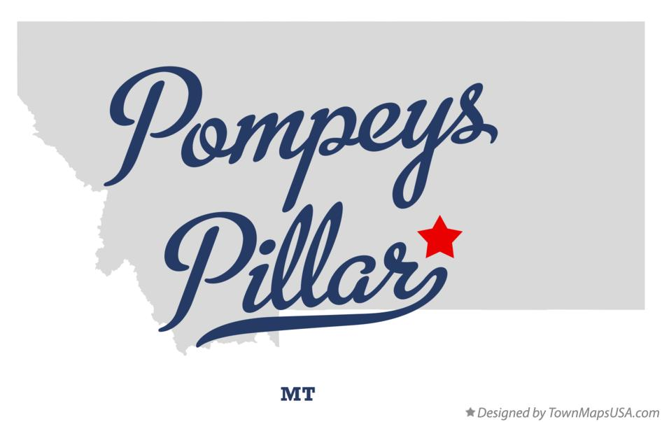 Map of Pompeys Pillar Montana MT