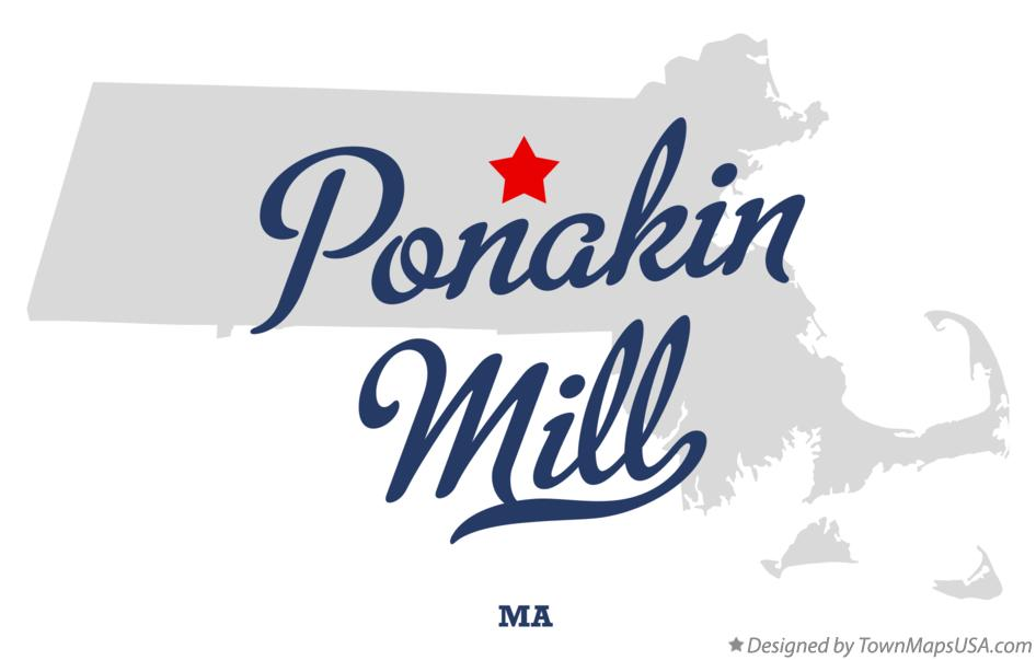 Map of Ponakin Mill Massachusetts MA