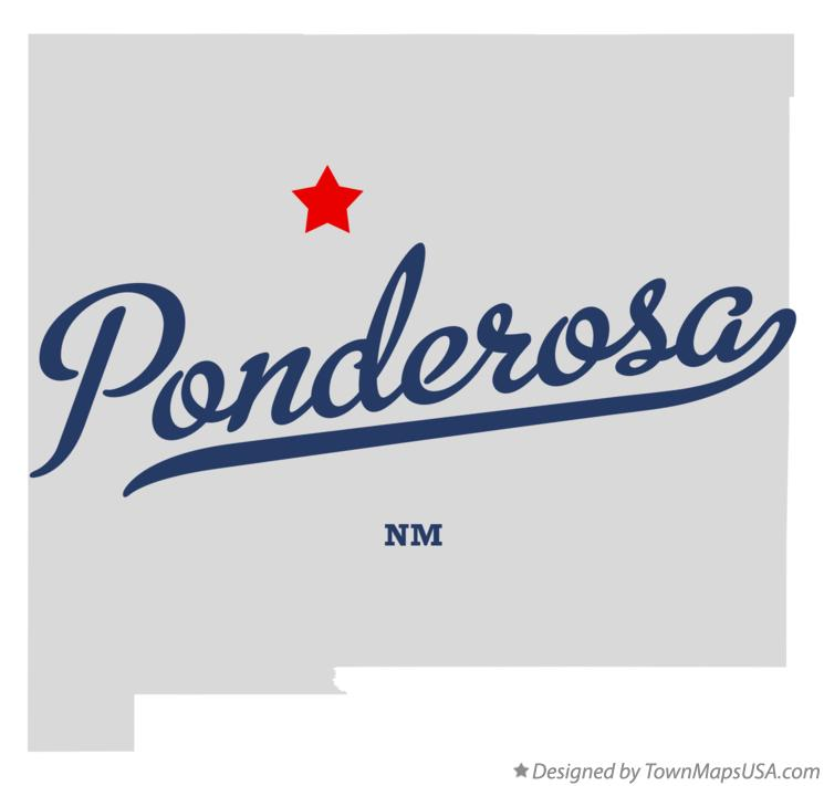 Map of Ponderosa New Mexico NM