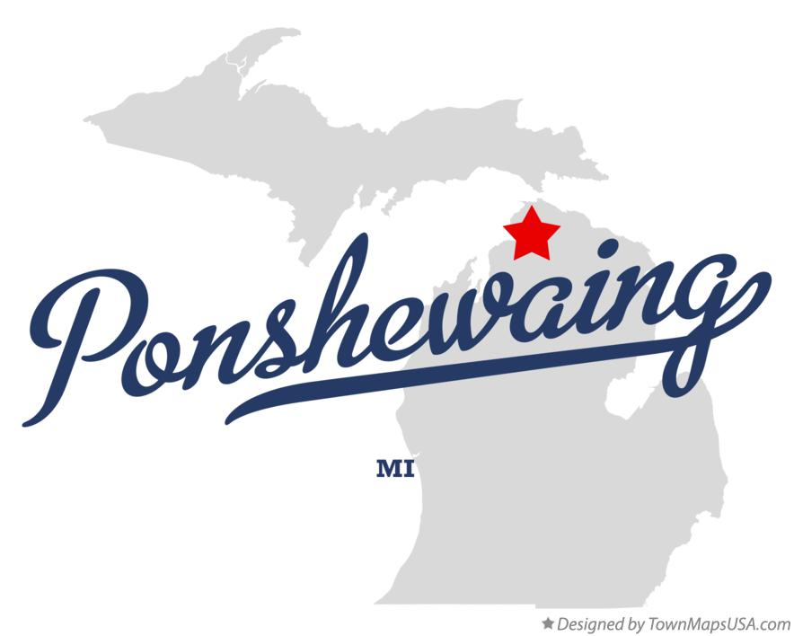 Map of Ponshewaing Michigan MI