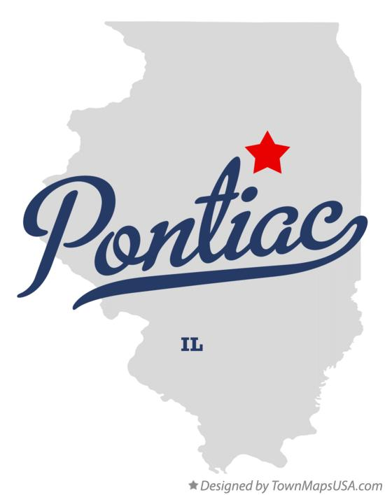 Map of Pontiac Illinois IL