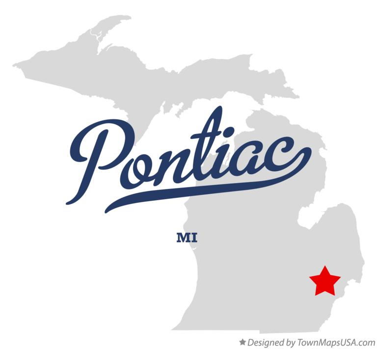 Map of Pontiac Michigan MI