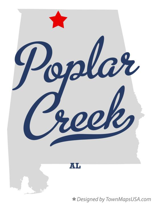 Map of Poplar Creek Alabama AL