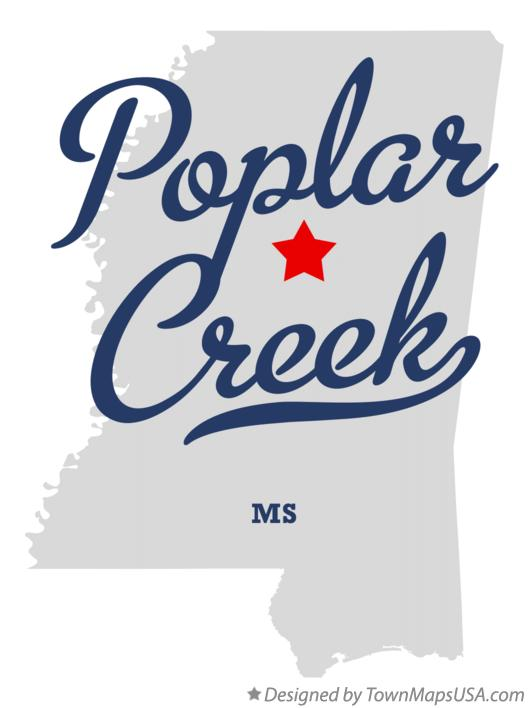 Map of Poplar Creek Mississippi MS