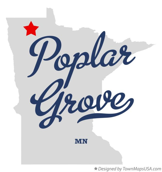 Map of Poplar Grove Minnesota MN