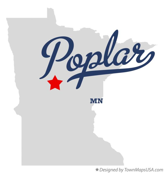 Map of Poplar Minnesota MN