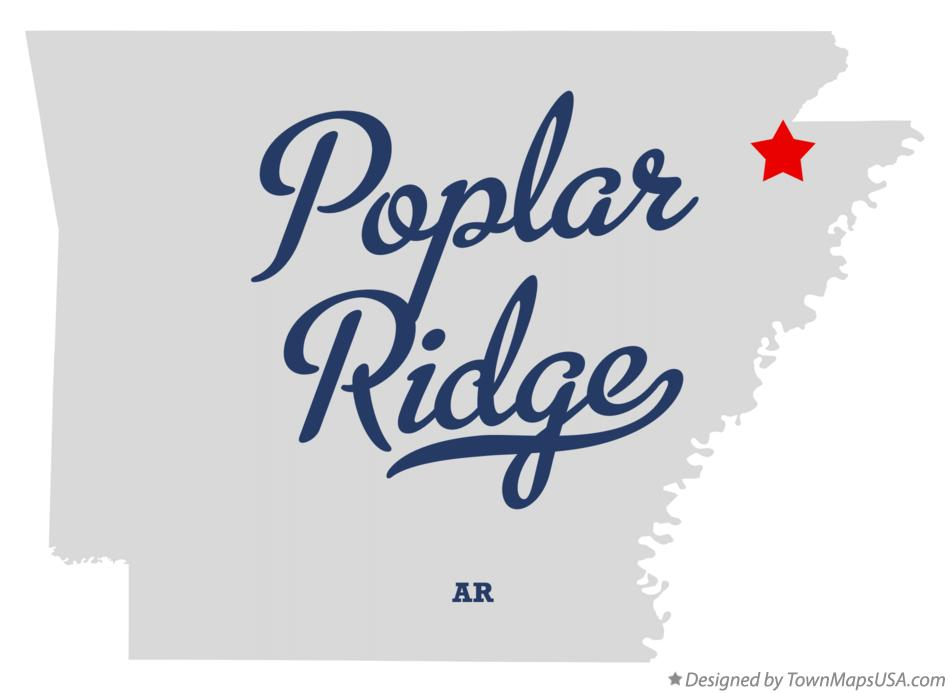 Map of Poplar Ridge Arkansas AR