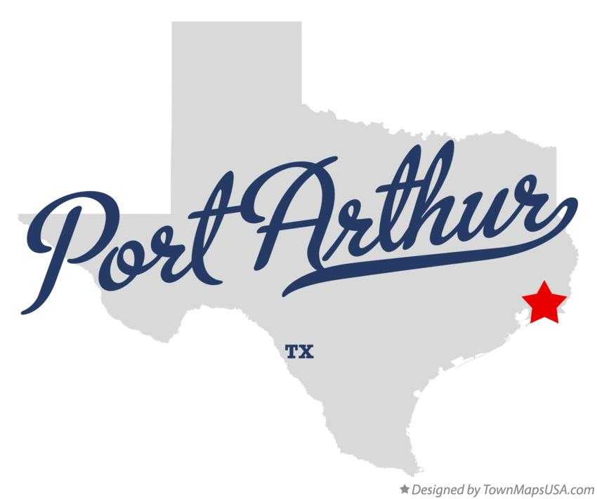 Map of Port Arthur Texas TX