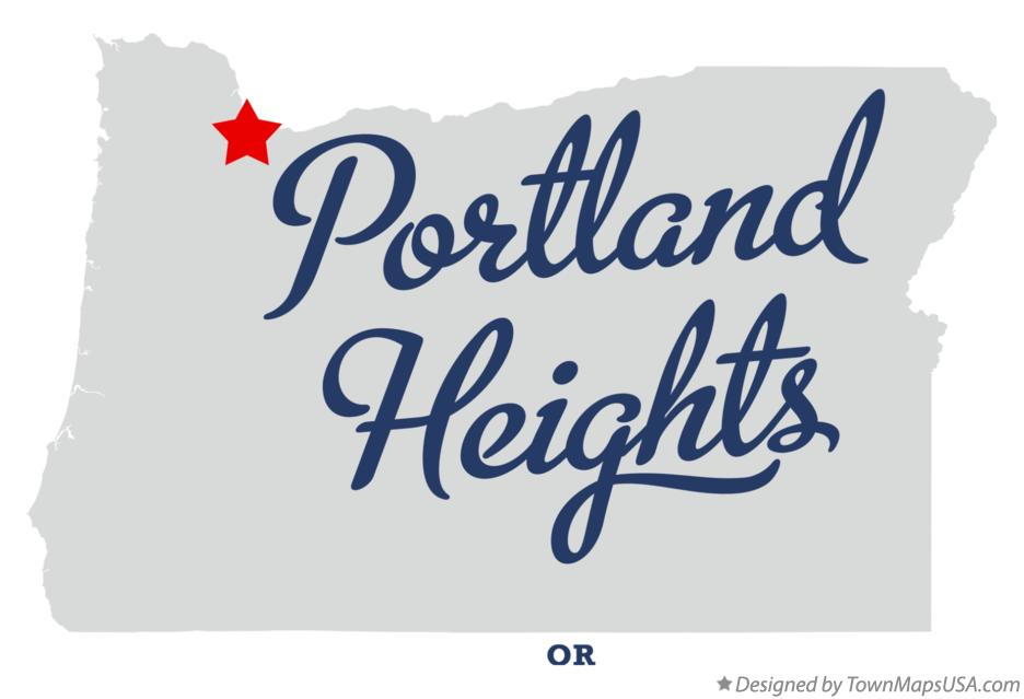 Map of Portland Heights Oregon OR