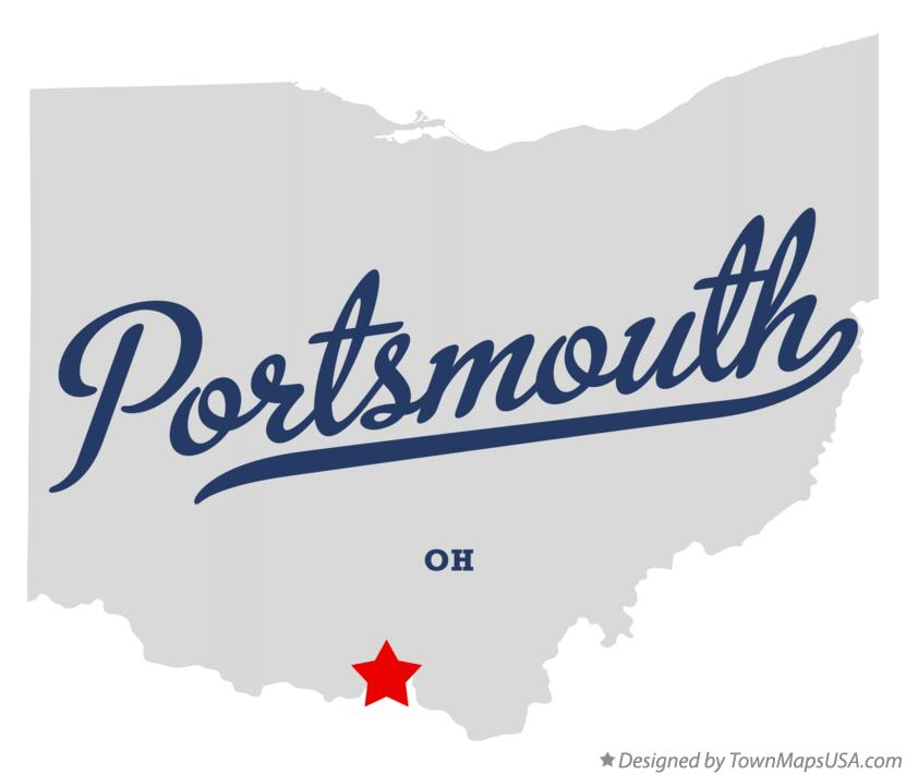 Map of Portsmouth Ohio OH