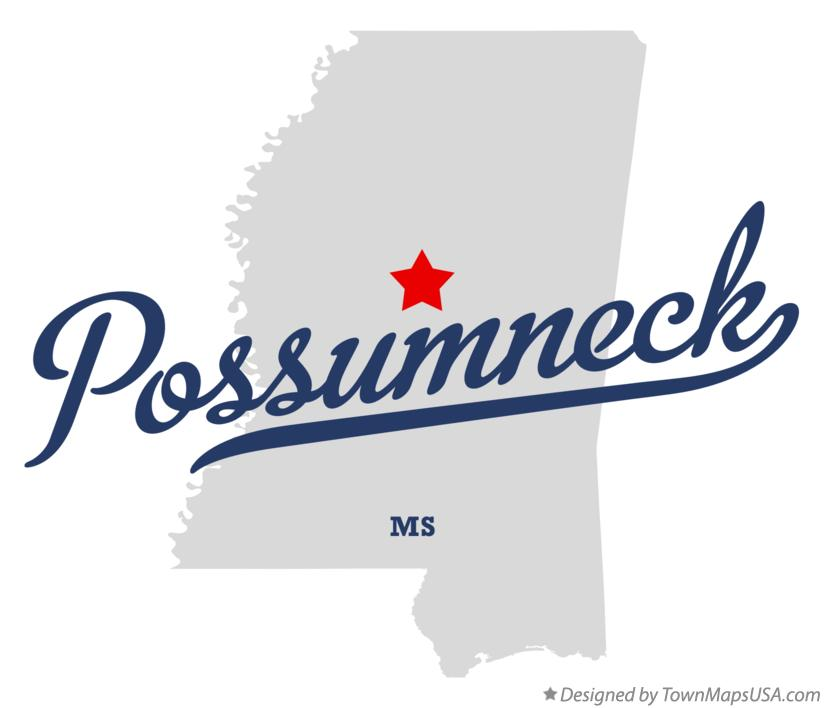 Map of Possumneck Mississippi MS