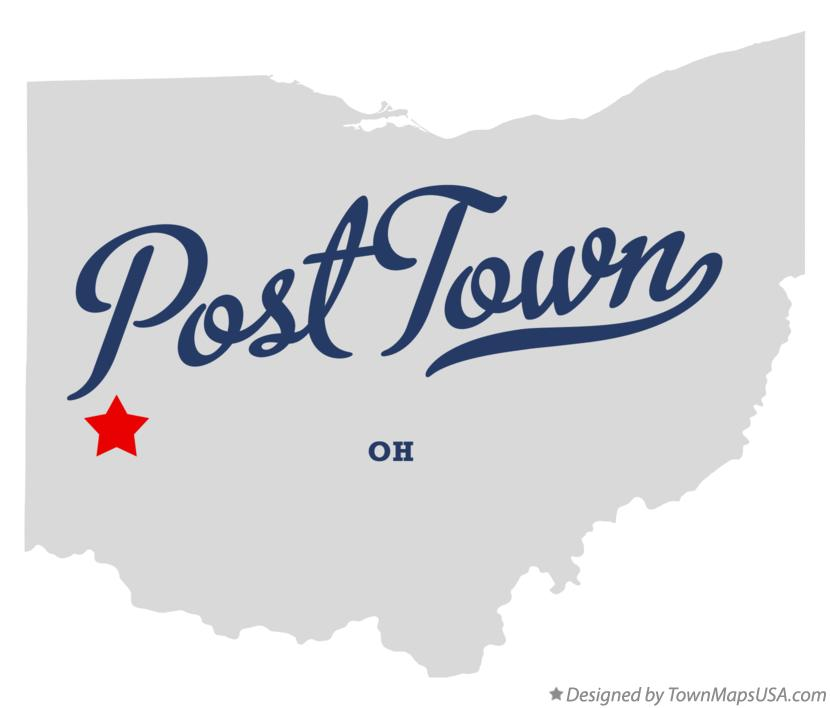 Map of Post Town Ohio OH
