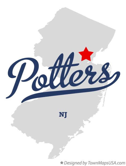 Map of Potters New Jersey NJ