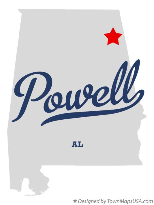 Map of Powell Alabama AL