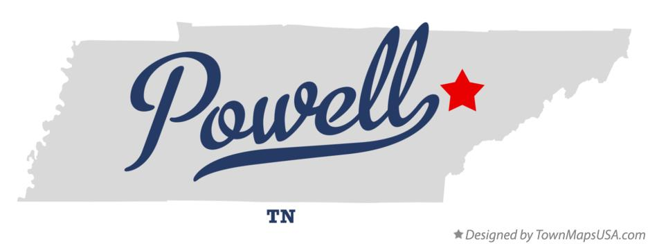 Map of Powell Tennessee TN