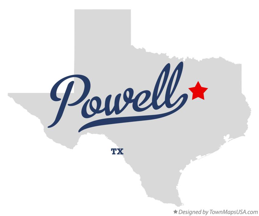 Map of Powell Texas TX