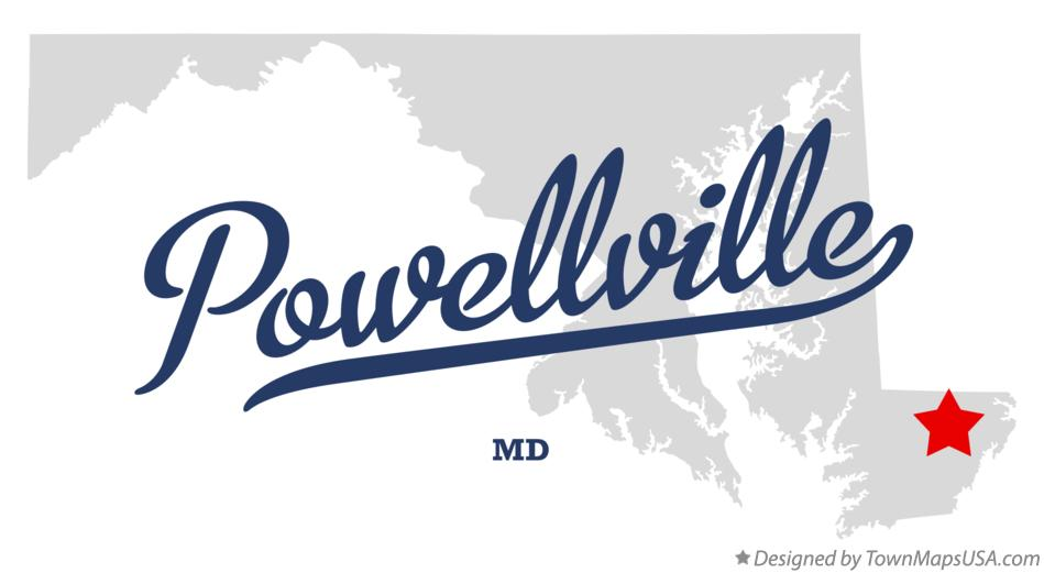 Map of Powellville Maryland MD
