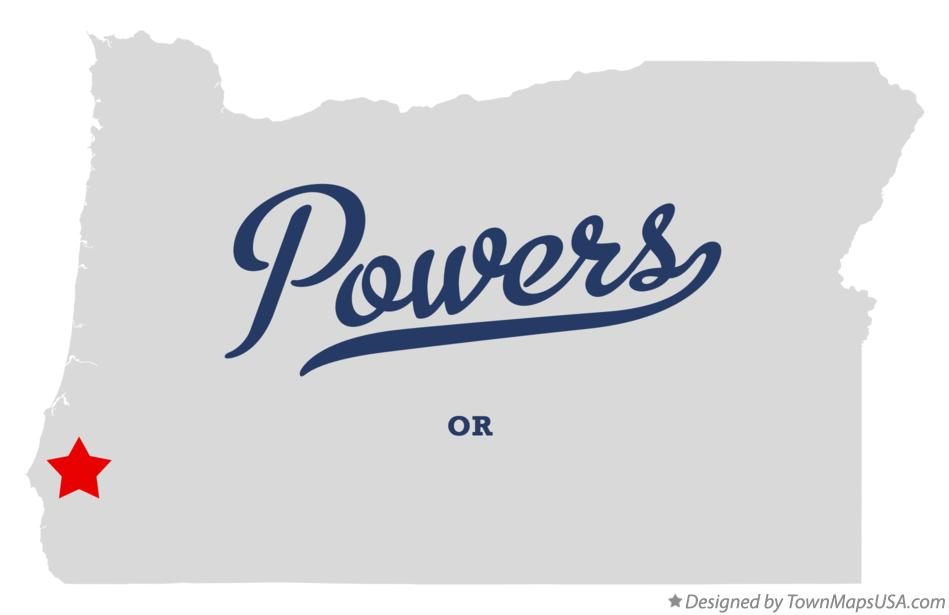 Map of Powers Oregon OR