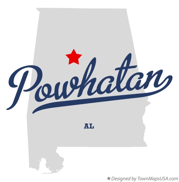 Map of Powhatan Alabama AL