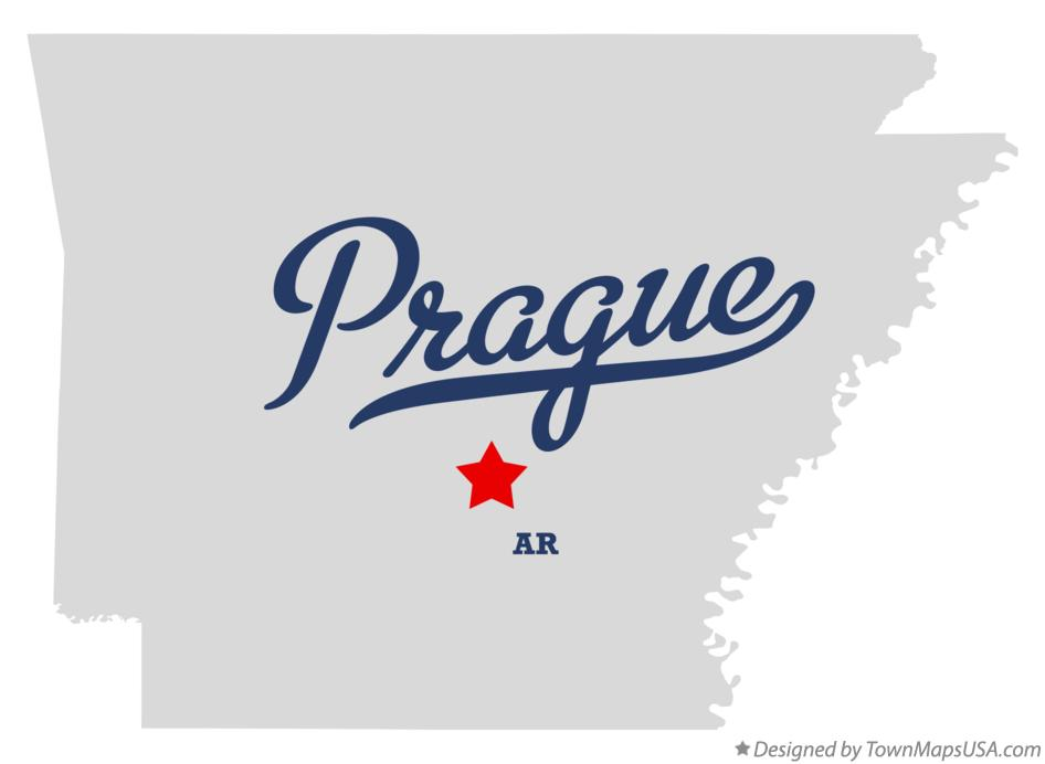 Map of Prague Arkansas AR