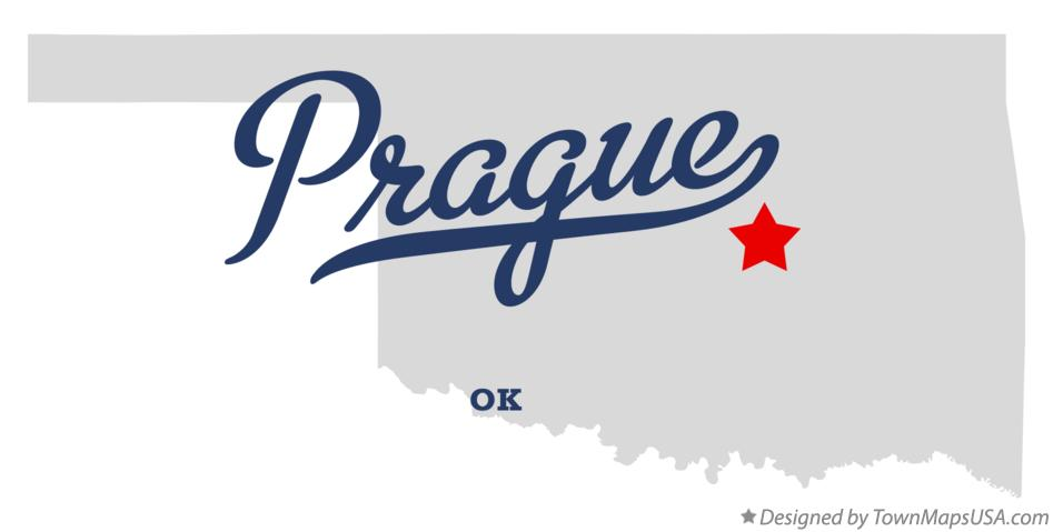 Map of Prague Oklahoma OK